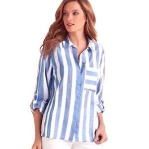 NWOT Soft Surroundings Capri Stripe Shirt, Sz 1X